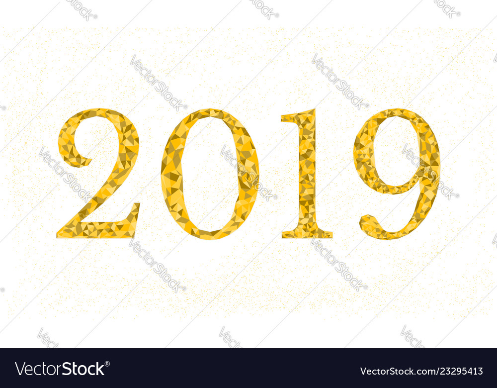 2019 new year golden text low poly design