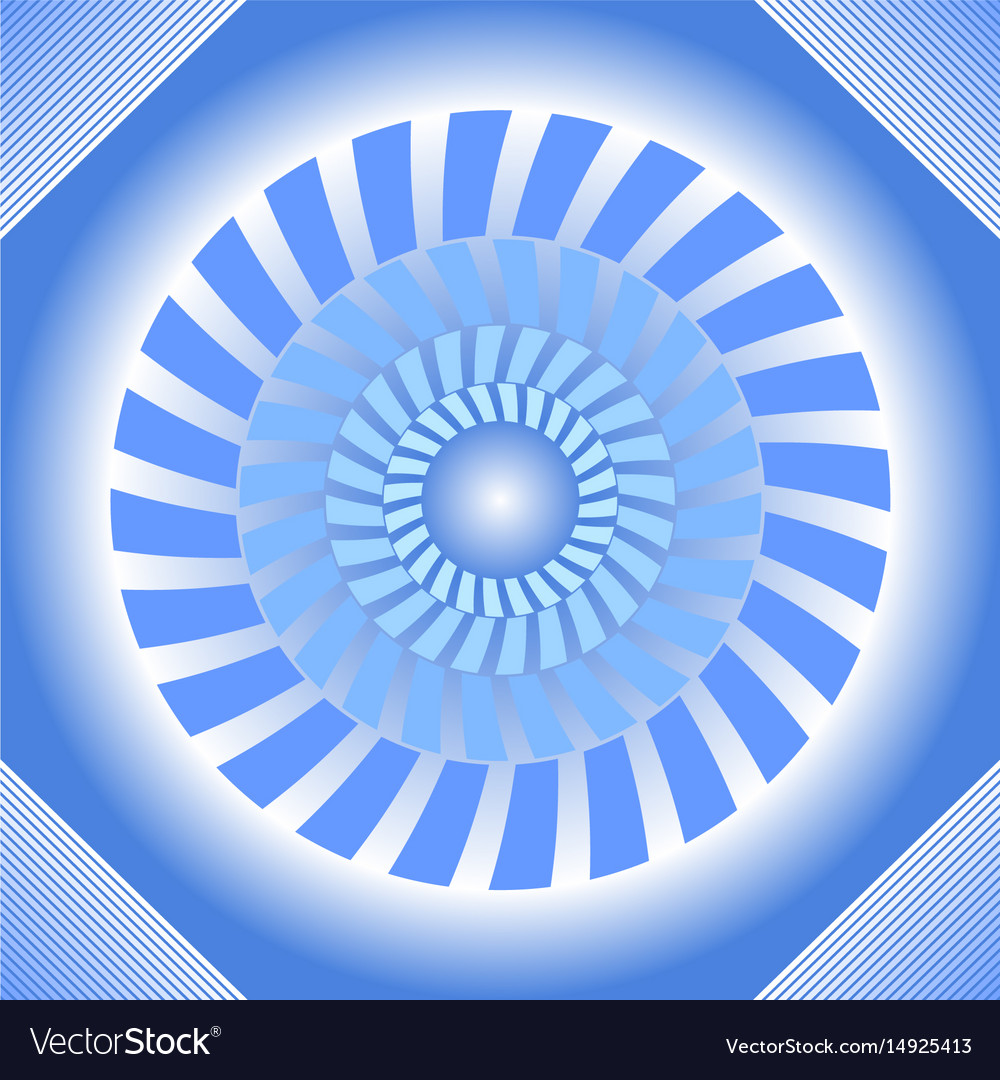 Blue tile with circle absteract shape in op-art