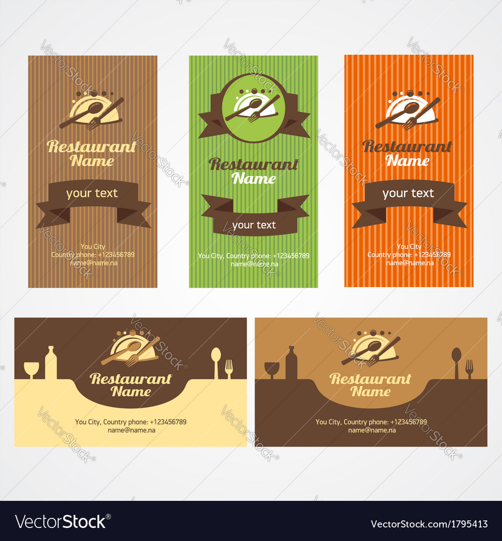 Food restaurant business card set royalty free vector image food restaurant business card set vector image colourmoves