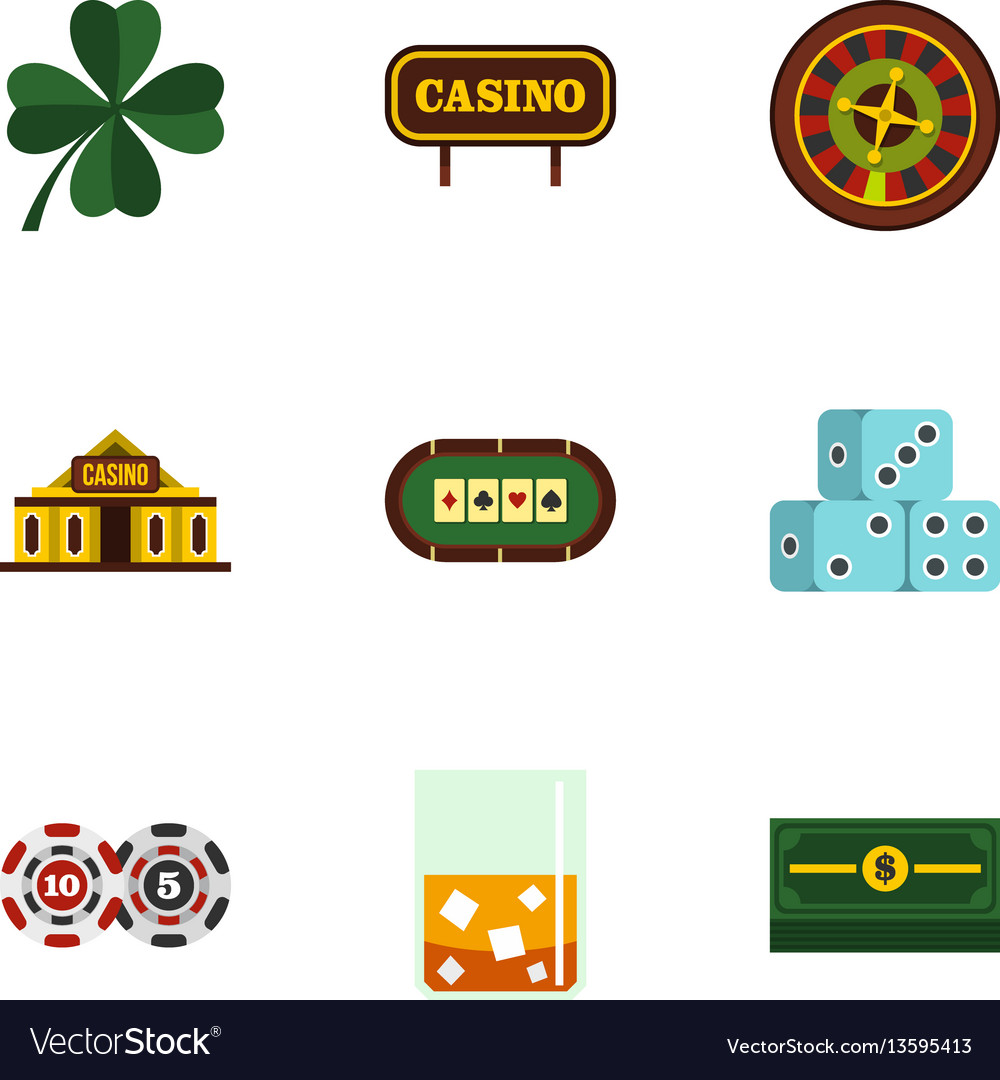 Fortune gambling icons set flat style