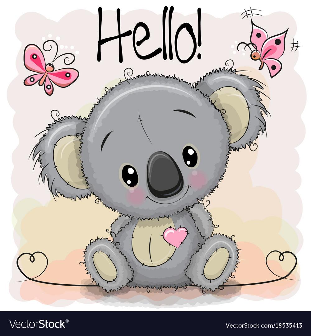 Greeting Card Cute Cartoon Koala Royalty Free Vector Image