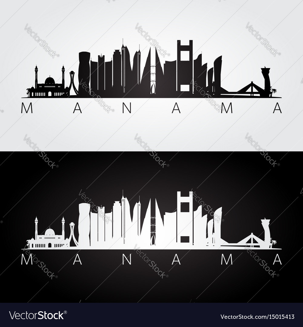 1cb88a5160c6 Manama skyline and landmarks silhouette Royalty Free Vector