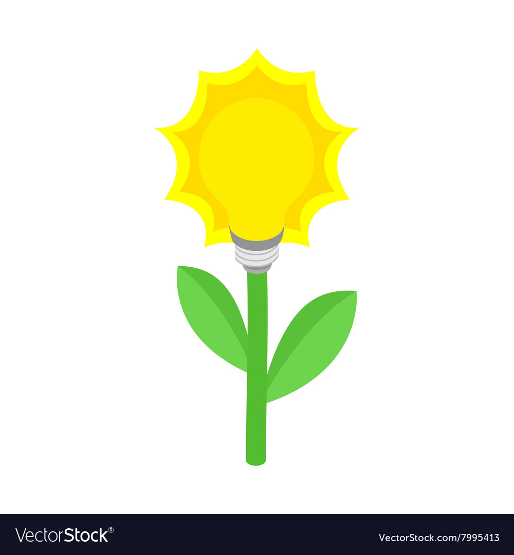 Plant with lamp bulb icon isometric 3d style