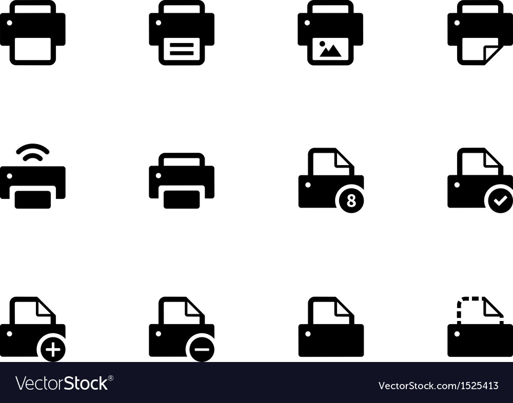 Printer icons on white background