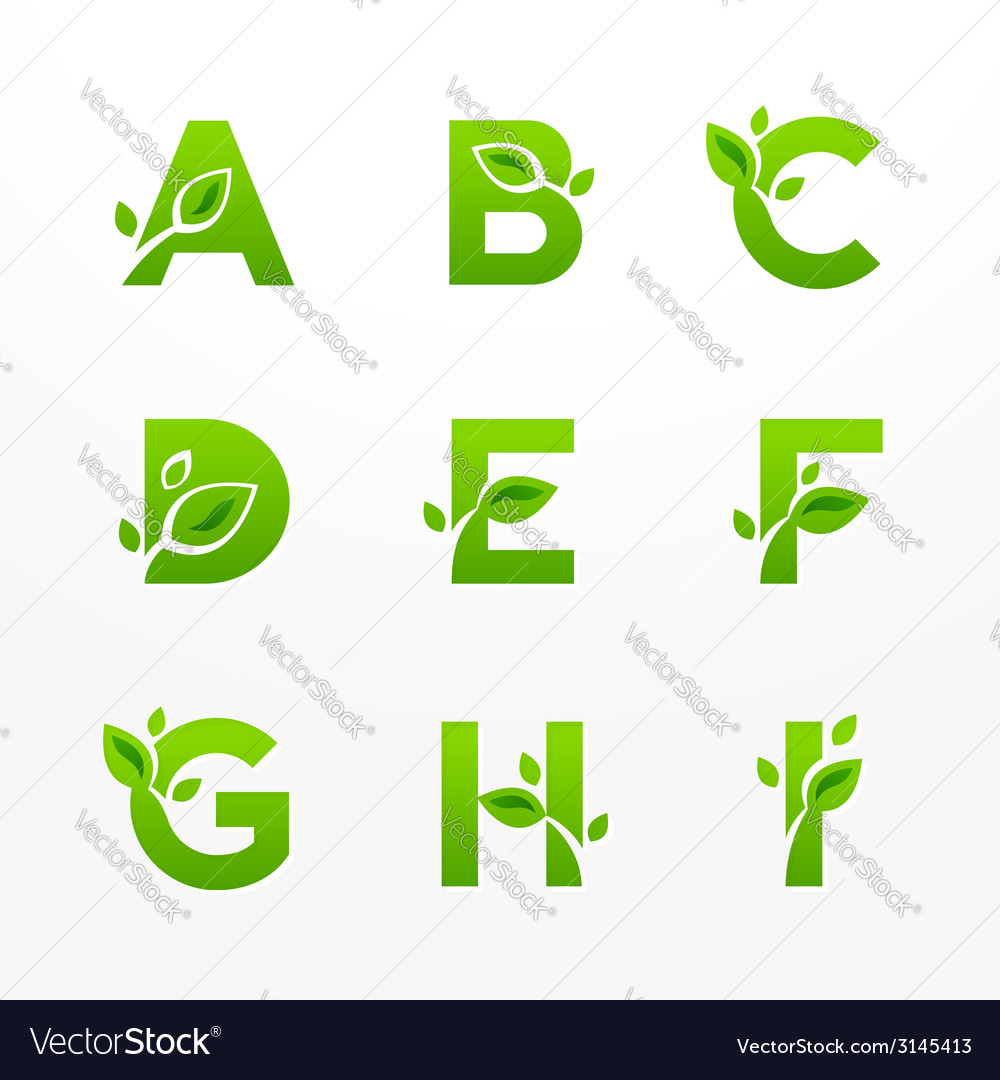 Set of green eco letters logo with leaves