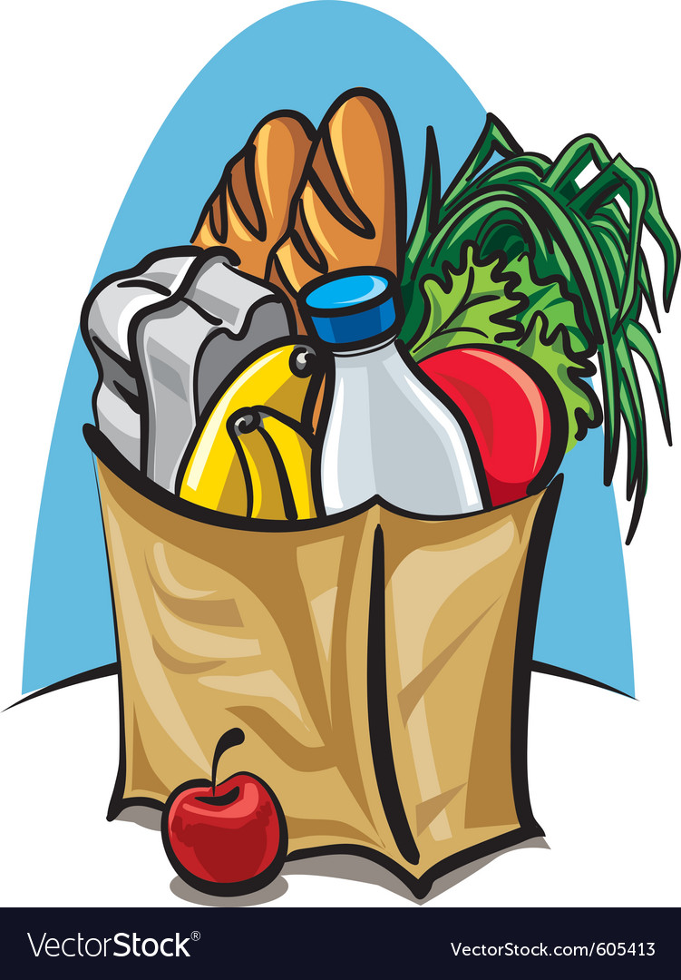 Shopping bag with food vector image
