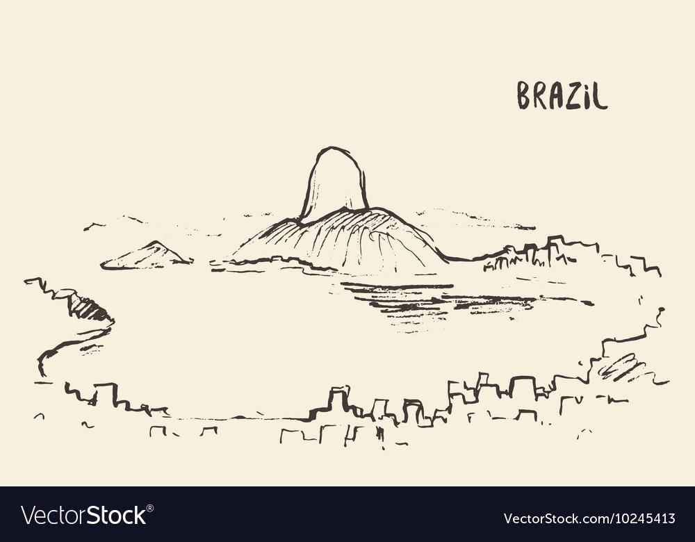 Sketch Rio De Janeiro skyline Brazil