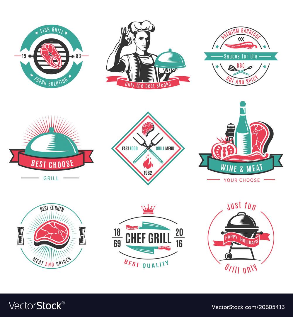 Vintage colored bbq labels set vector image