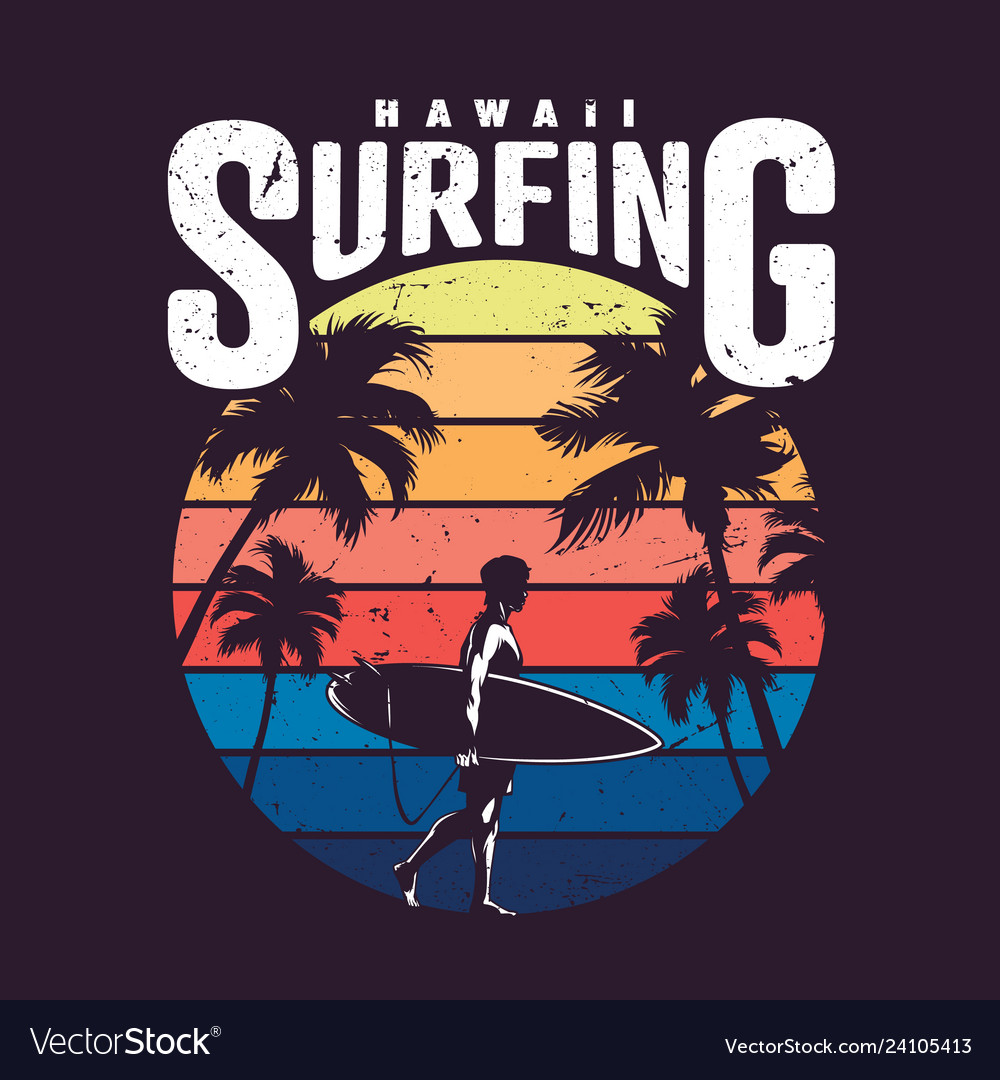 Vintage colorful hawaii surfing label