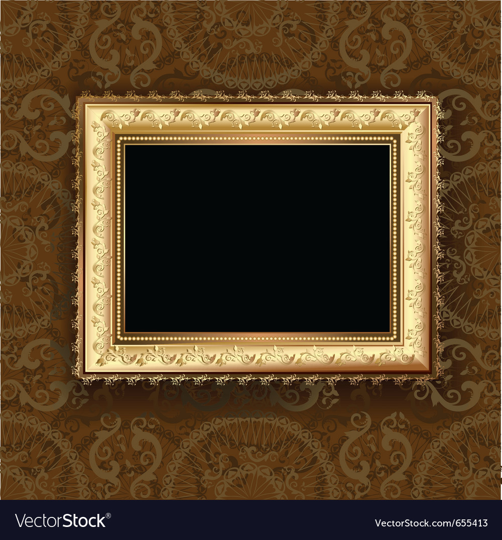 Wooden vintage gold frame vector