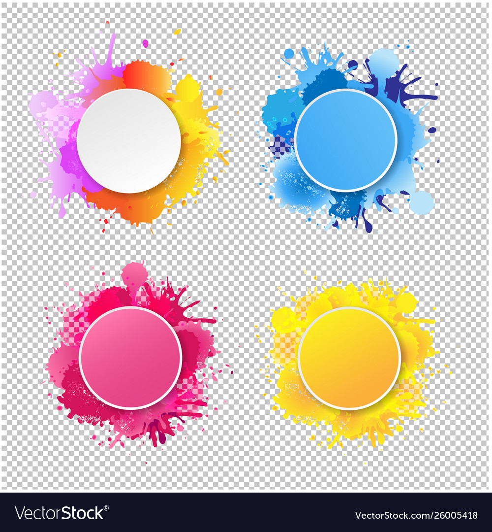 Bright banner with colorful blobs transparent