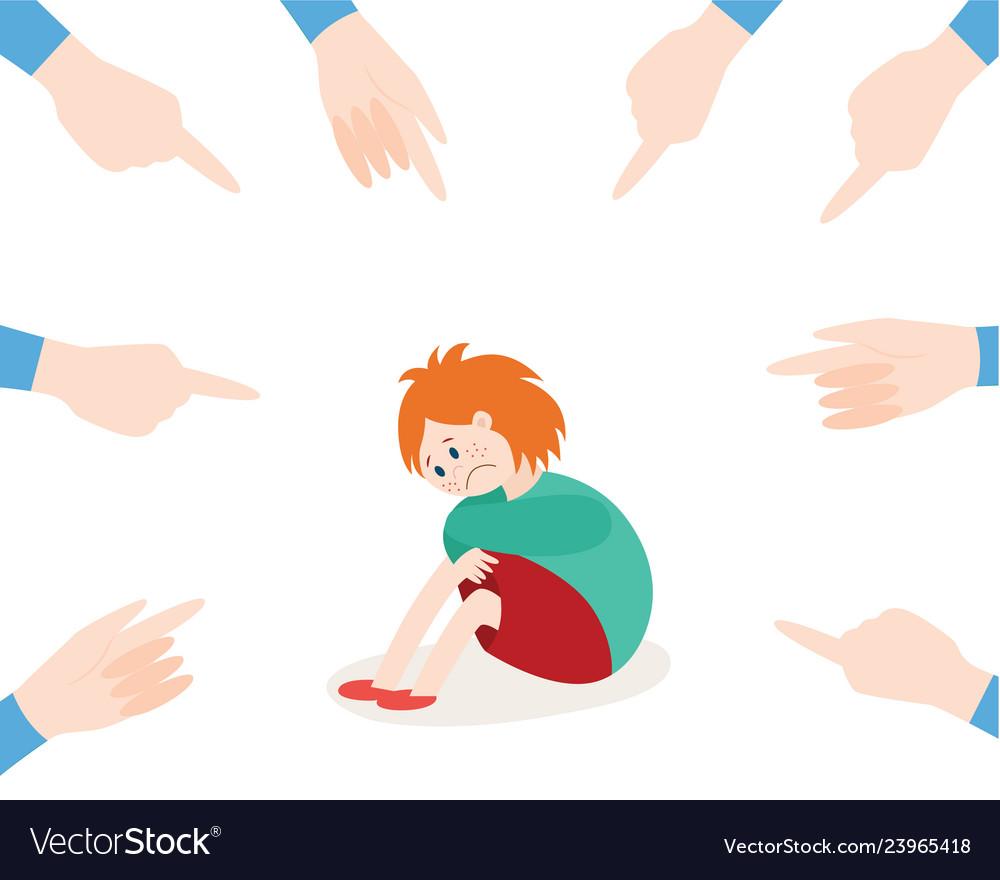 Bullying of child girl sitting alone flat