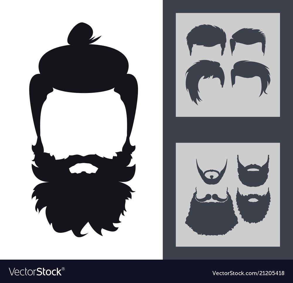 Hipster fashion set bearded face avatar