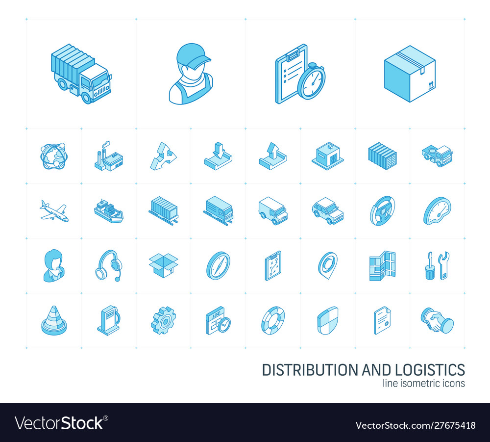 Logistic and distribution isometric line icons 3d