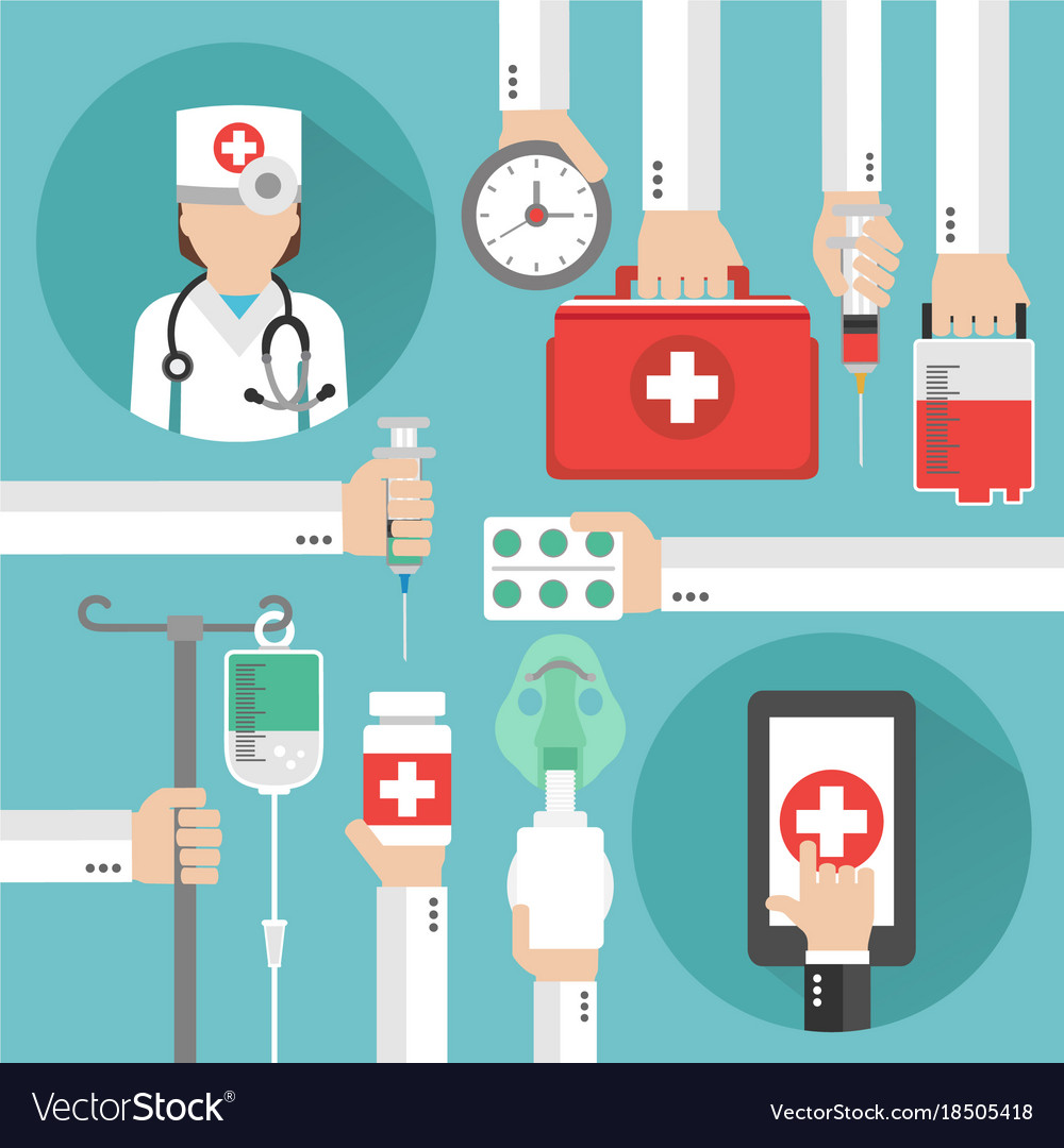 Medical online design flat with women doctor