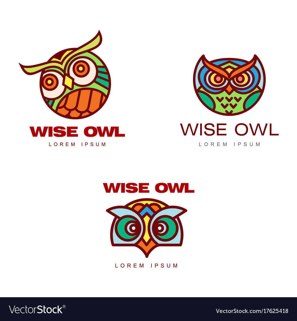 Set of logo logotype templates with owl heads