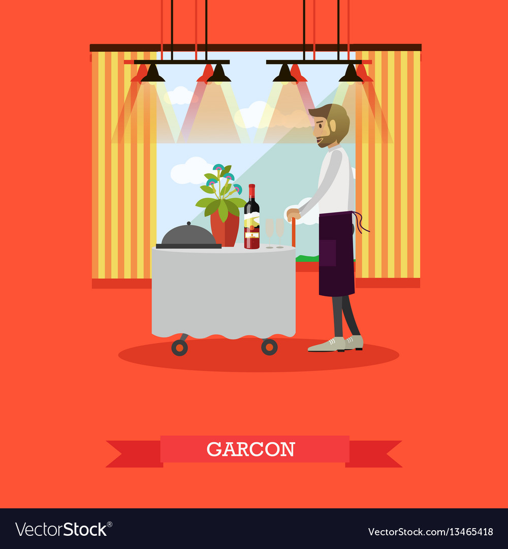 Waiter standing at table in vector image