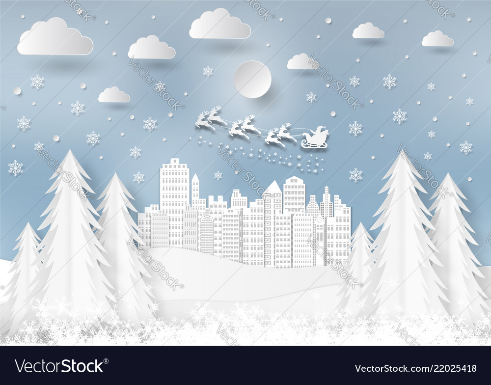 Winter season with snowflake and santa in town of