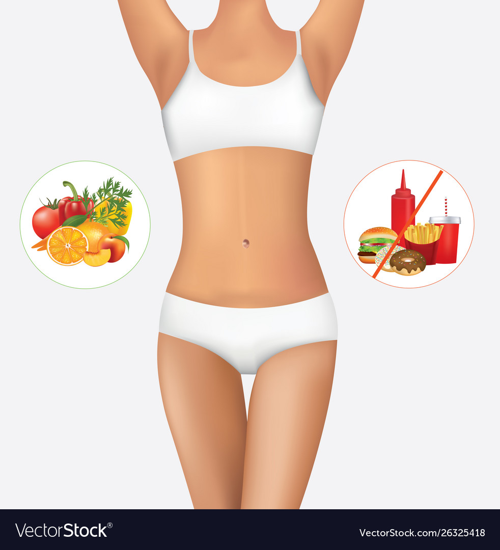 Woman body with healthy and unhealthy food