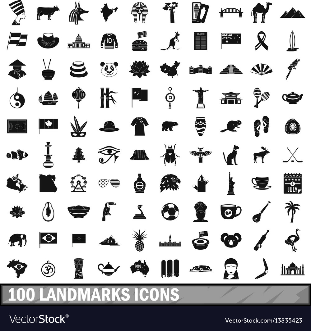 100 landmarks icons set simple style vector image