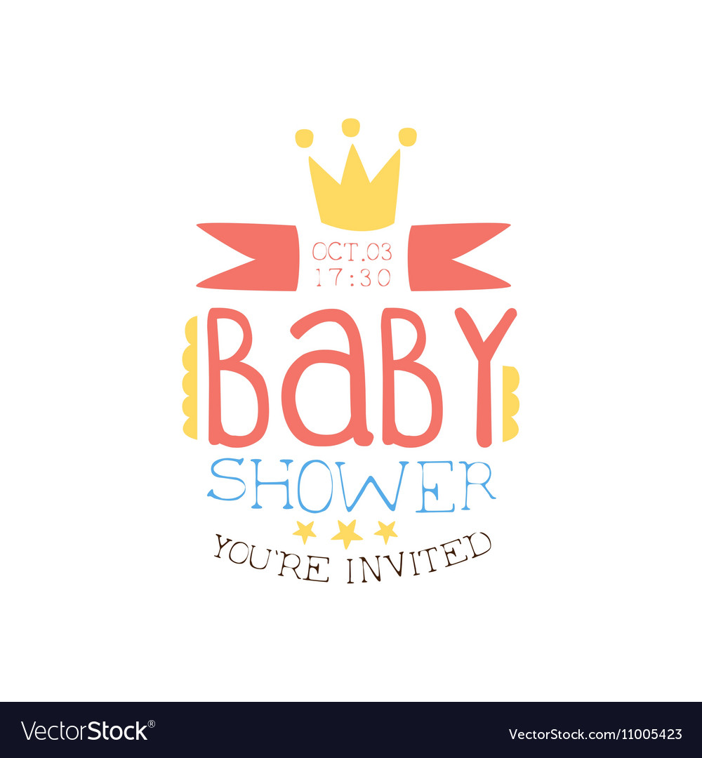 Baby Shower Invitation Design Template With Crown Vector Image