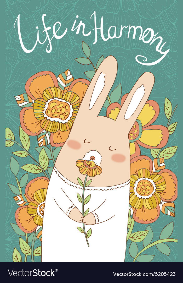 Bunny card with cute hand drawn flowers