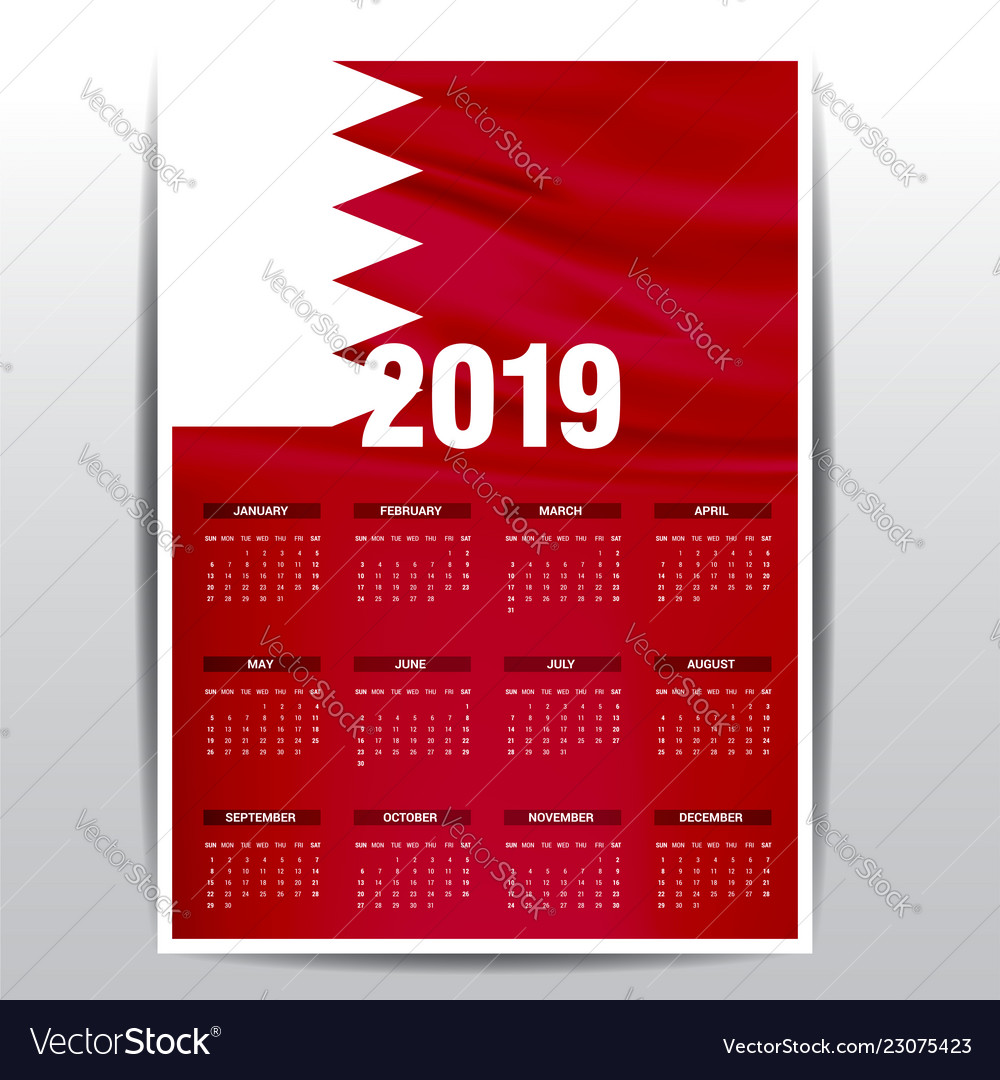 Calendar 2019 Bahrain Flag Background English Vector Image
