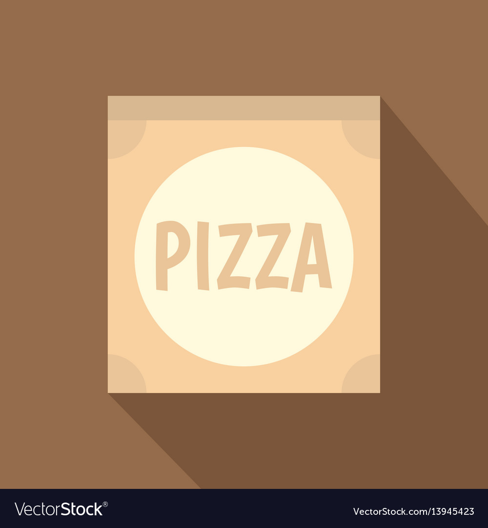 Cardboard box with pizza icon flat style