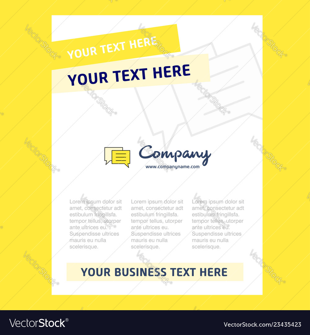 Chat Bubble Title Page Design For Company Profile Vector Image On Vectorstock