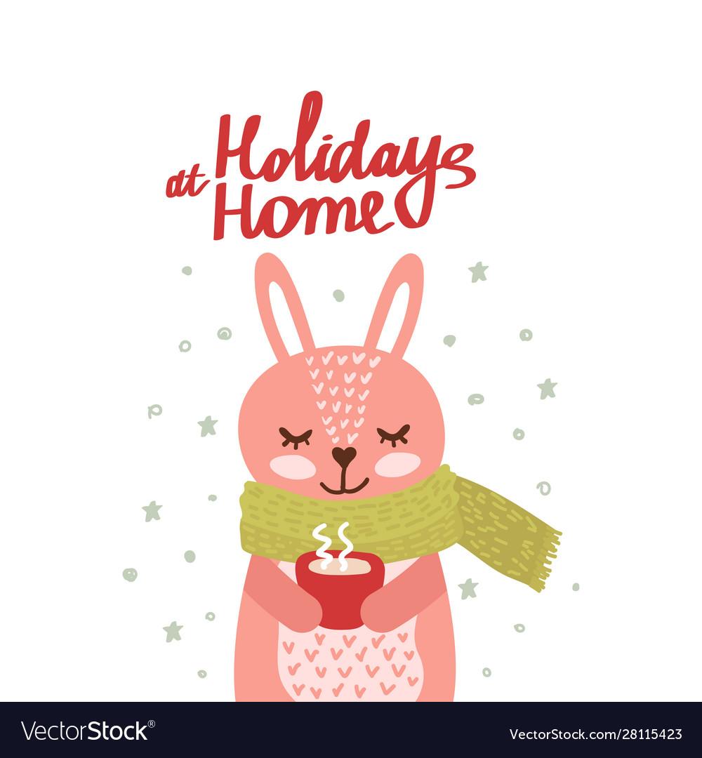 Christmas card with cute rabbit