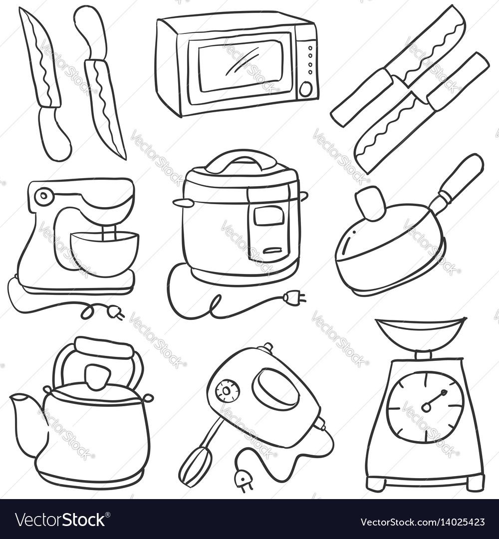 Doodle of kitchen set style cartoon vector image
