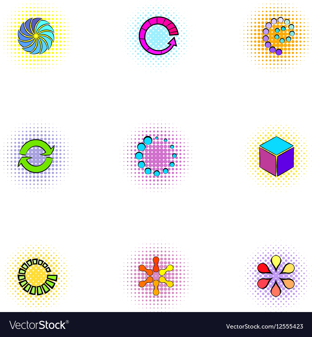 Download icons set pop-art style