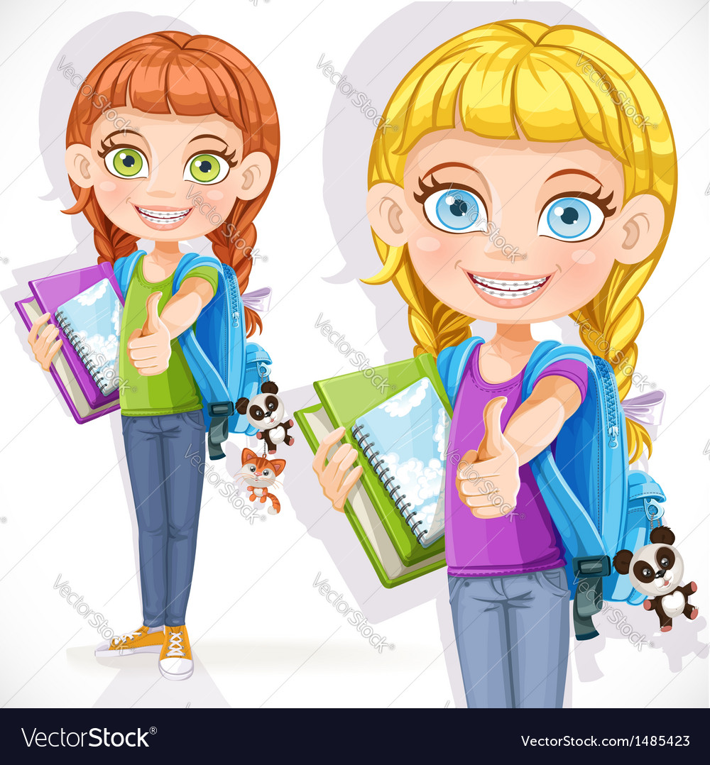 Girl student with a backpack vector image
