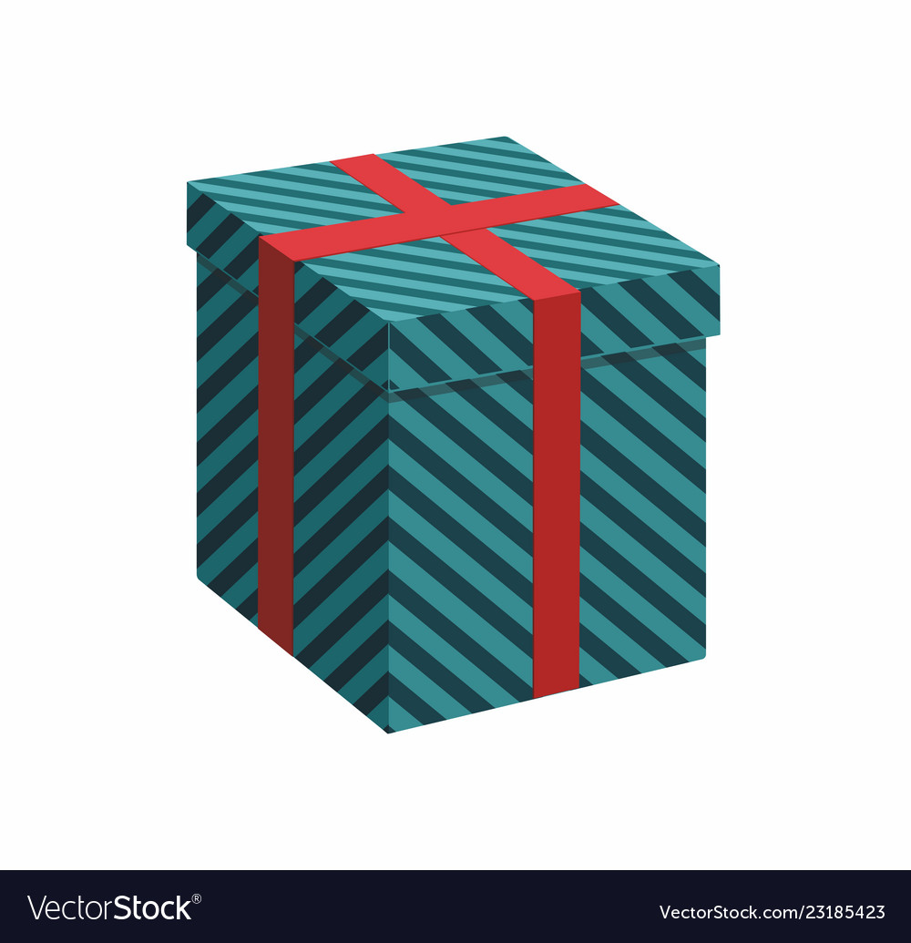 Green gift box with ribbon on white