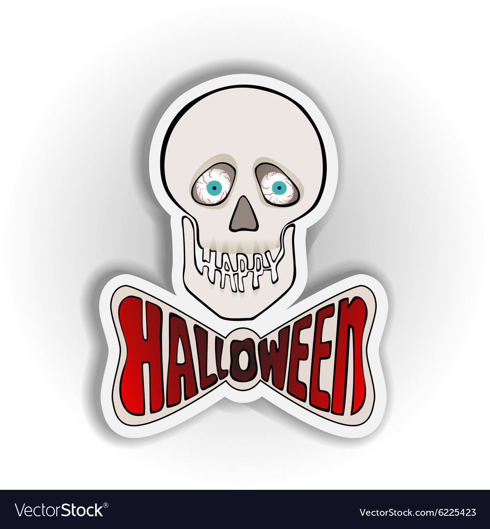 Happy Halloween sticker with skull on a white