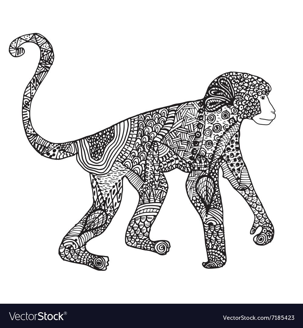 Ornamental hand drawn sketch of monkey in