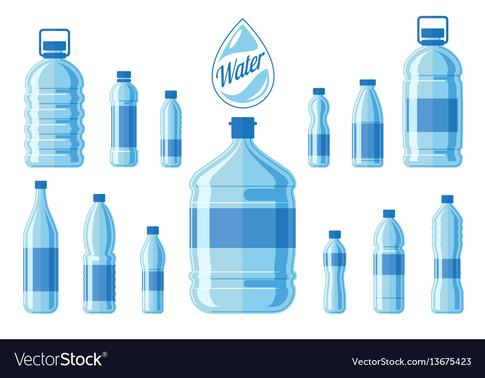 Plastic water bottle set isolated on white