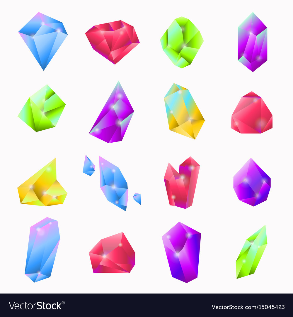 Precious stones in various shapes and colors set vector image
