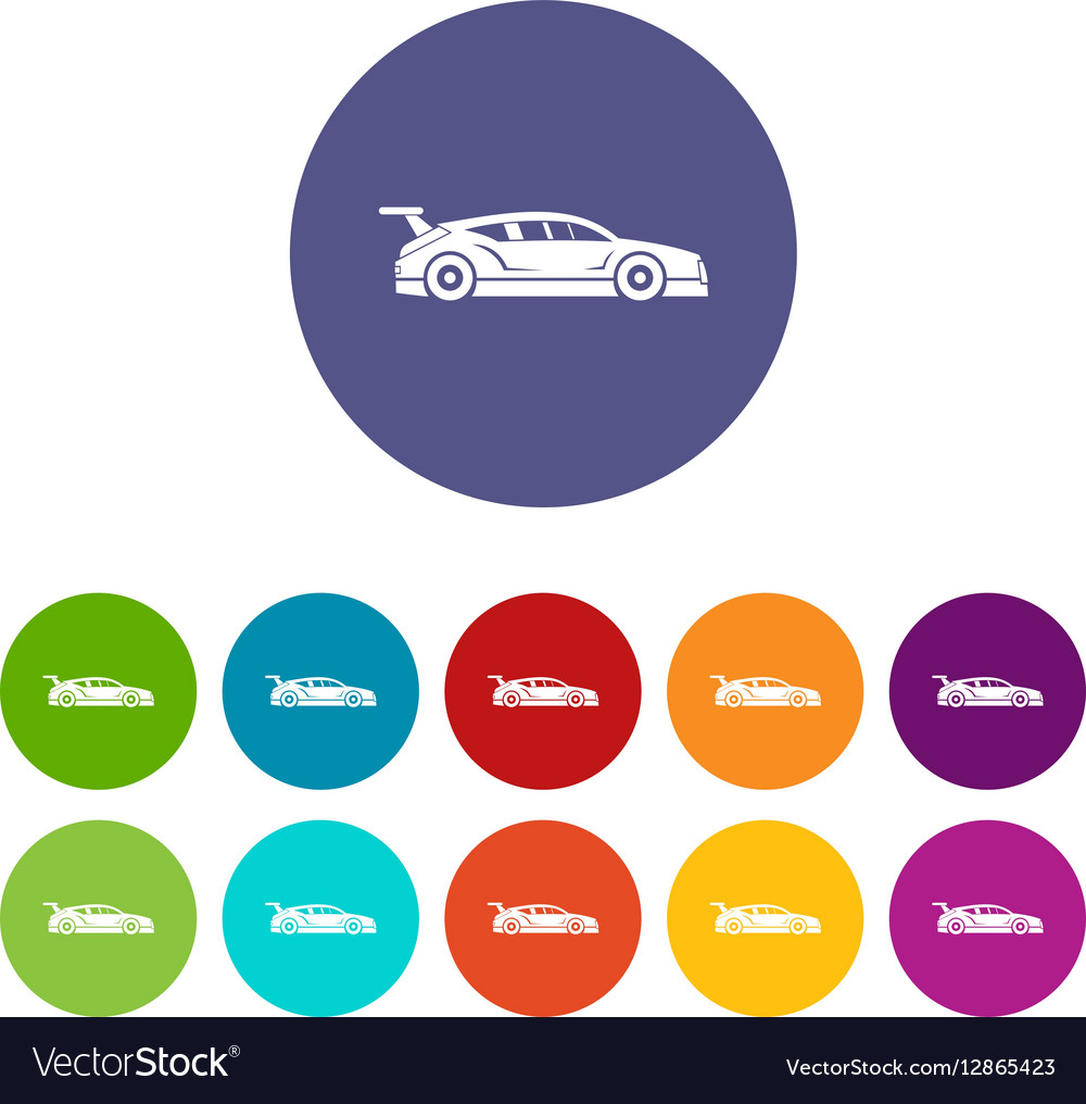 Rally racing car set icons