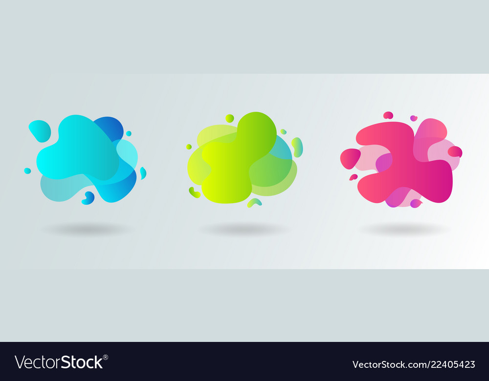 Set of abstract modern flowing liquid shapes