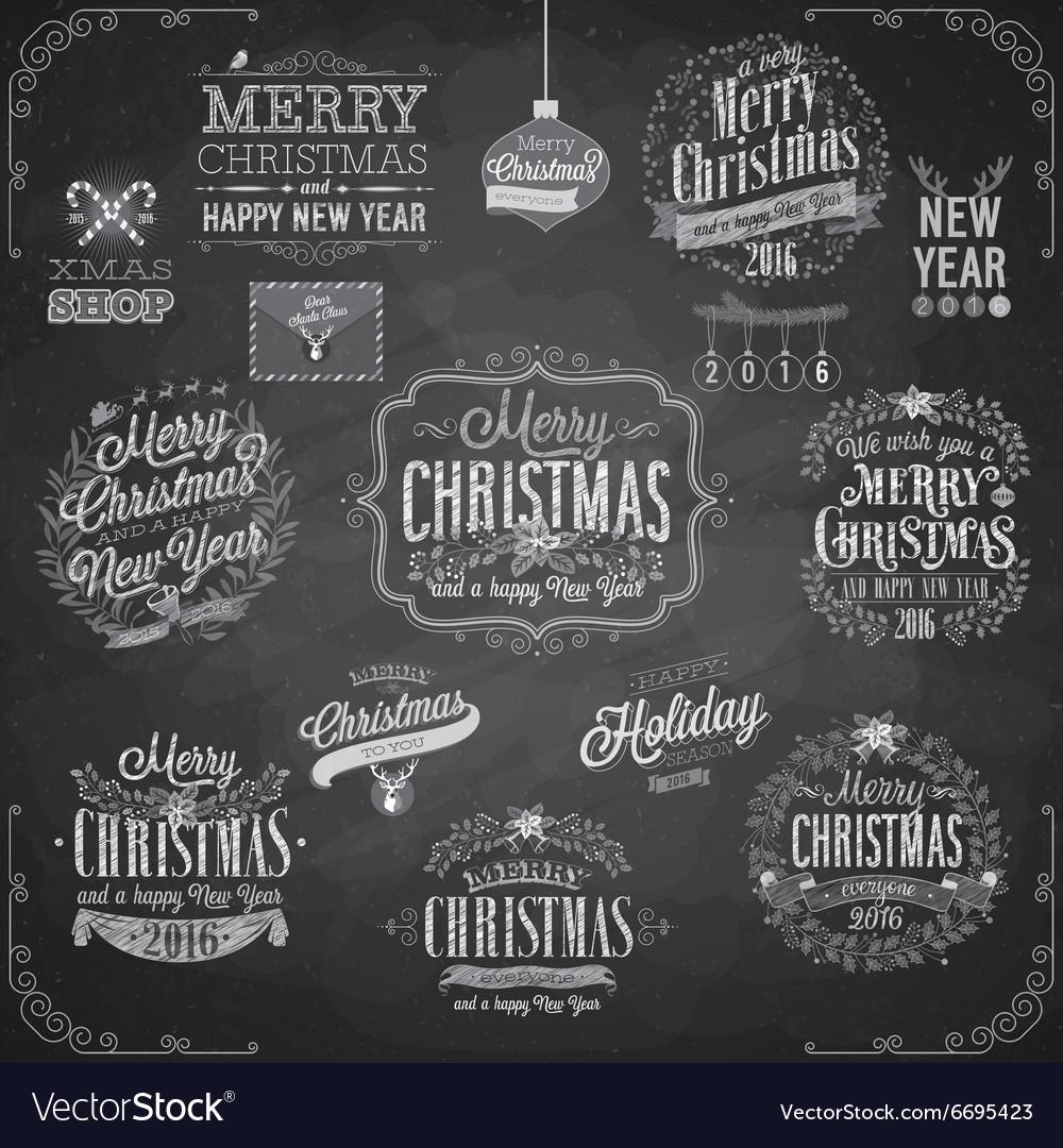 Set of Christmas emblems - Chalkboard