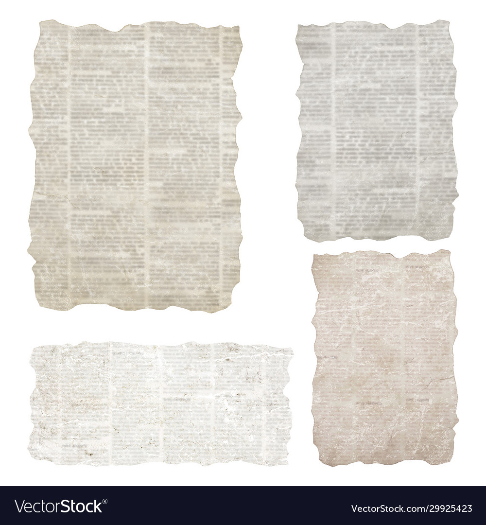 Set torn newspaper pieces isolated on white