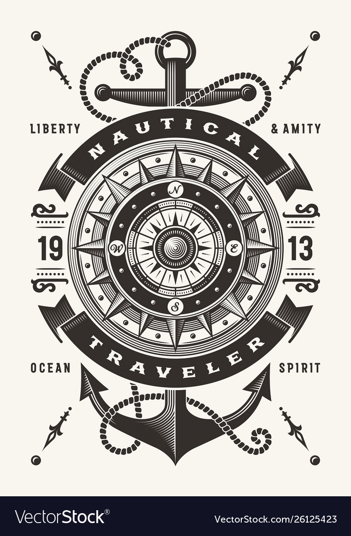 Vintage nautical traveler typography one color