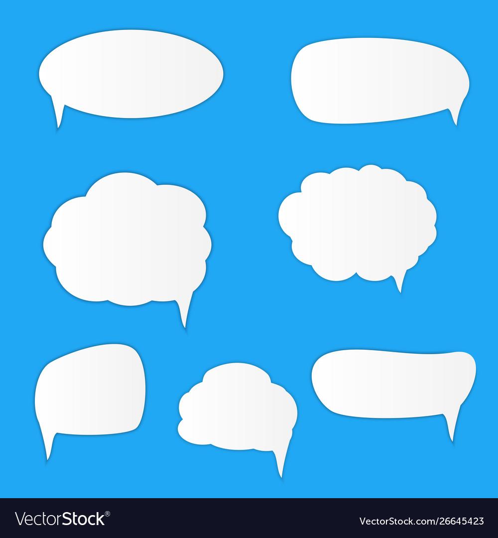White blank retro speech bubbles set on blue