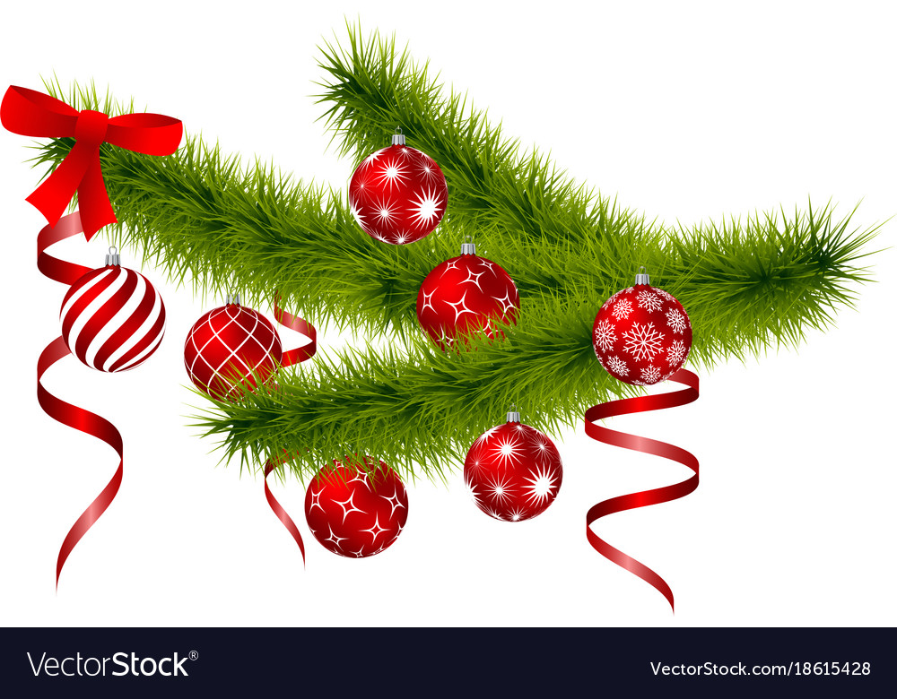 Christmas branch with hanging christmas balls