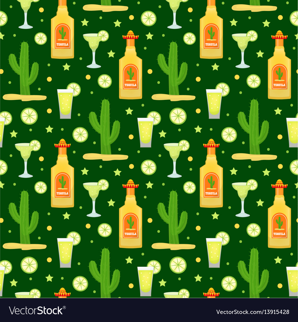 Cinco de mayo seamless pattern with tequila and