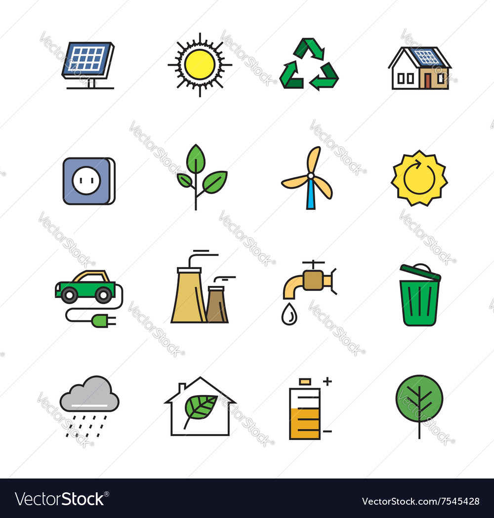 Flat eco icons vector image
