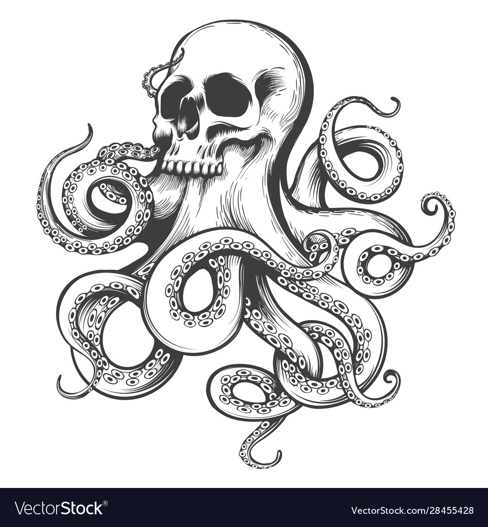 Hand drawn tattoo skull with octopus tentacles