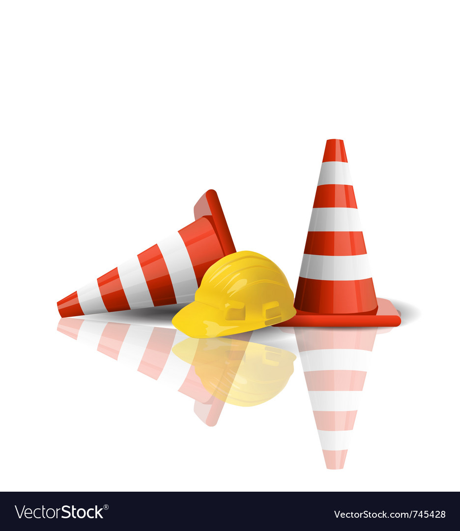 Hard cap with traffic cones vector image