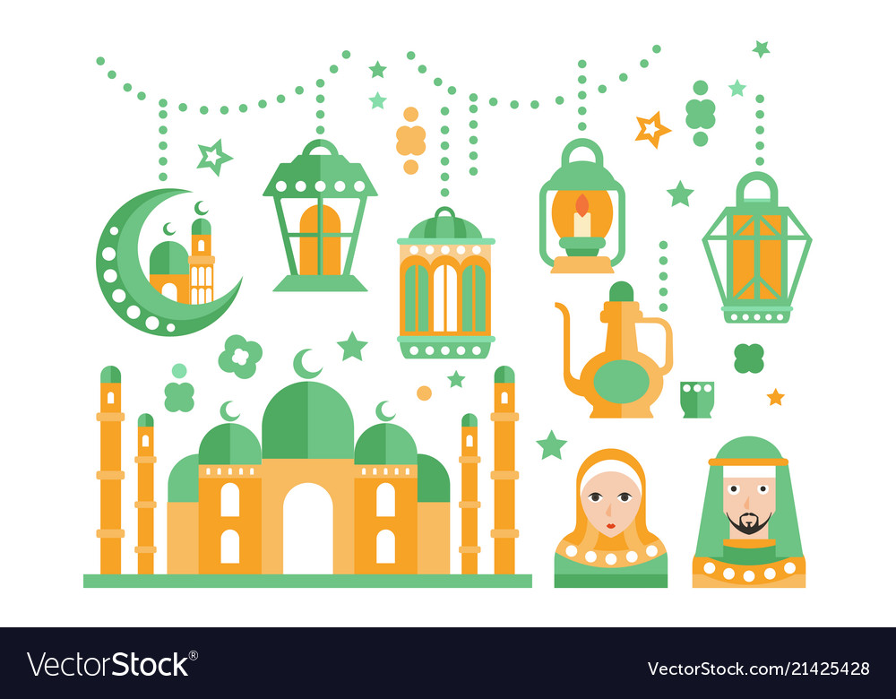 Islamic Religious Holiday Symbols Set Royalty Free Vector